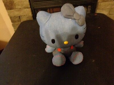 Rare Denim Blue Jean Hello Kitty Sanrio Plush Doll Figure Japanese Toy