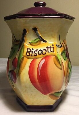 Biscotti Cookie Jar Hand Painted for Nonni's Tuscanny Fruit With Lid