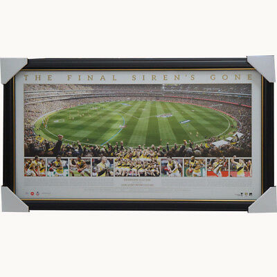 "Richmond 2017 AFL Premiers Official Panoramic ""Final Siren's Gone"" Print Framed"