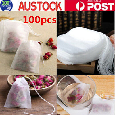 100X Empty Tea Bags Heat sealing filter paper clean Loose bag String Teabag Herb