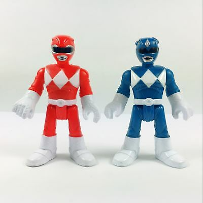 Lot of 2pcs Fisher-Price Imaginext Power Rangers Red & Blue Ranger Action Figure