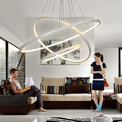 1/2/3 Circles Circular Ring Pendant Lights Rings Acrylic Aluminum LED Chandelier