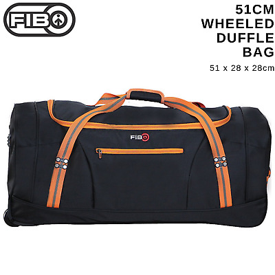 FIB 51cm Wheeled Duffle Bag Heavy Duty Travel Sports Gym w Straps - Black/Orange