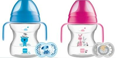 MAM Learn to Drink Cup 190ml with Handles & 6+m Soother NEW DESIGN(Choose Yours)