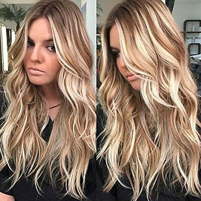 Women Blonde Gradient Long Curly Wig Synthetic Wavy Hair Heat Resistant Wig