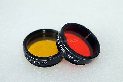 """Olivon 1.25"""" #21 and #12 yellow and orange telescope filters."""
