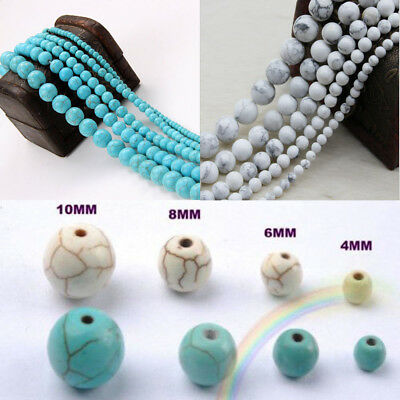 Lots 10~40Pcs Howlite Turquoise Gemstone Round Loose Beads Jewelry 4 6 8 10 mm