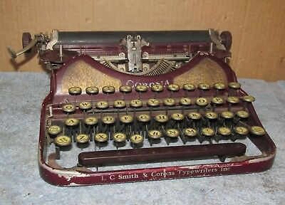 Antique/Vintage L.C. Smith & Corona Portable Typewriter Maroon As Is J0339