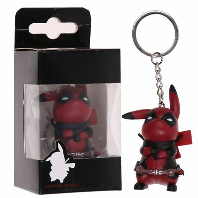 Marvel Pikachu Cosplay Deadpool Collectible Figurine Keychain Keyring Toys Gifts
