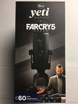 Blue Microphones Yeti Blackout Microphone & Far Cry 5 Bundle - New & Sealed