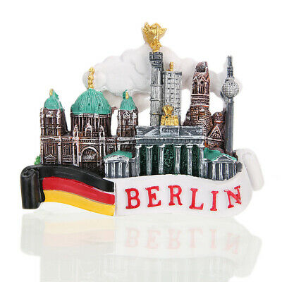 3D Tourist Travel Souvenir Rerin Fridge Magnet - Berlin, Germany Flag and Castle