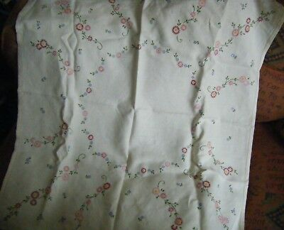 "Vintage Hand Embroidered Cream linen Tablecloth, floral design, 32"" x 33"""