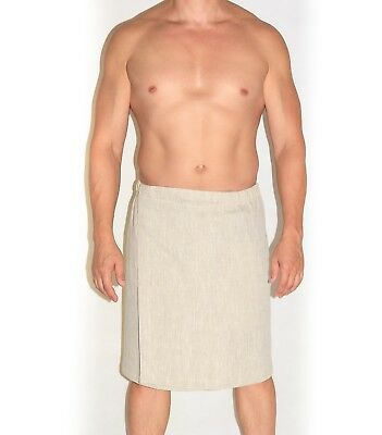 Adjustable Towel Wrap Linen Shower & Bath Men's with hook-and-loop fasteners.