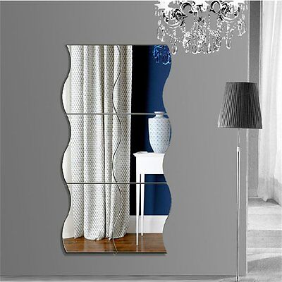 6pcs Waves Shape Self-adhesive 3D Mirror Wall Stickers Decal Room Decorations~QI
