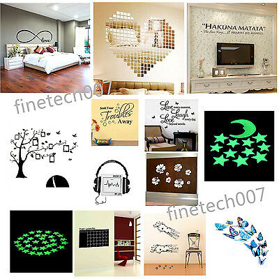 Quote Word Decal Vinyl DIY Home Room Decor Art Wall Sticker Bedroom Removable RF