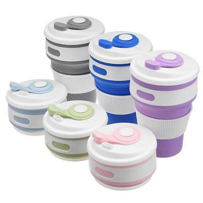 1x Leak Proof 350ML Collapsible Silicone Coffee Cup Mug Reusable Travel Foldable