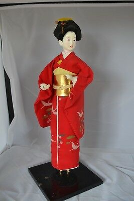 Vintage Asian Japanese Oriental Doll Figure Standing Red  #12