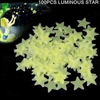 100Pcs 3Cm Glow Luminous Star Wall Stickers Bedroom Fluorescent Pvc Stickers RF1