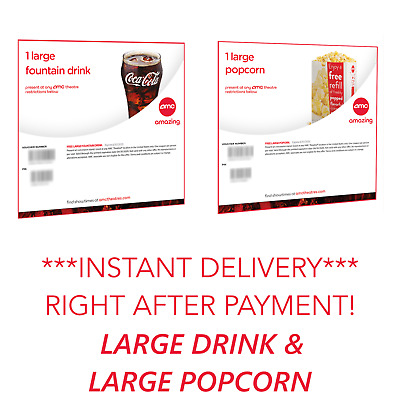 ⚡INSTANT DELIVERY! AMC Theatres - Large Drink & Large Popcorn - Expires 6/30/20