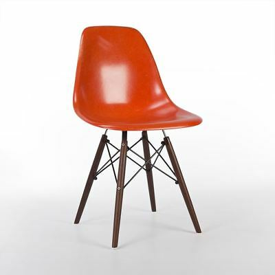 Orange Herman Miller Original Authentic Eames DSW Dining Side Shell Chair