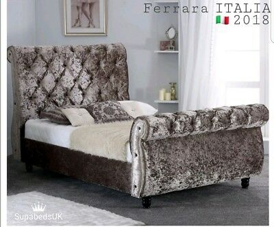 4Ft6 Double Luxury Chesterfield Sleigh Bed With Memory Ortho Mattress New Sale