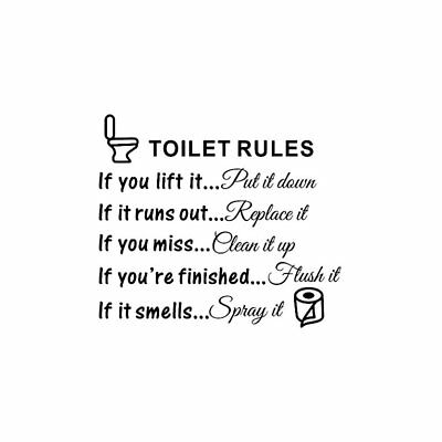 Toilet Rules Quote Wall Stickers Bathroom Washroom PVC Removable Wall Decals RF1