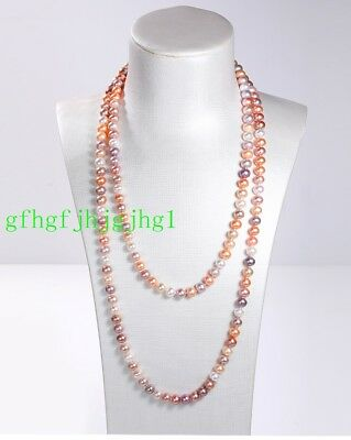 Charming 7-8mm Natural Multicolor Freshwater Cultured Pearl Necklace 48''