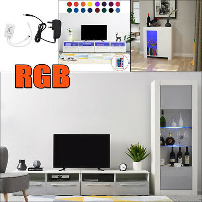 Modern High Gross TV Stand Cabinet Unit RGB LED Lighting with 4 Drawers Shelves
