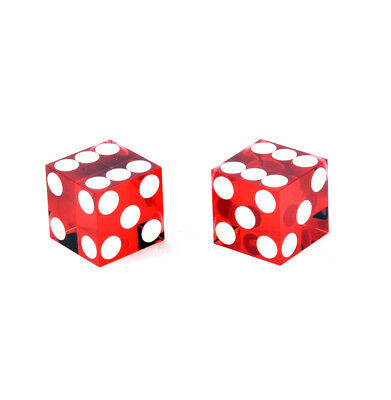 Pair of 19mm Red Non-Precision Casino Craps Dice - Plastic Injection Moulded for