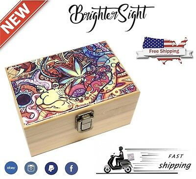 PHYCHEDELIC Pack Smoking GIFT + Raw Rolling Papers + Wooden Box + Grinder 4Pcs