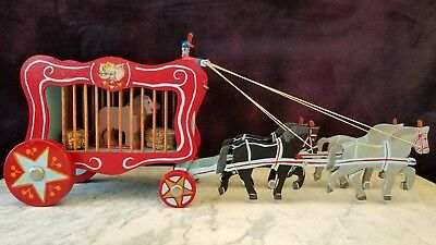 Vintage Hand Made Toy Horse Drawn Circus Wagon