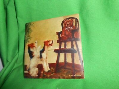 "Wire Fox Terrier  4"" x 4"" Ceramic Art Tile Free Shipping"