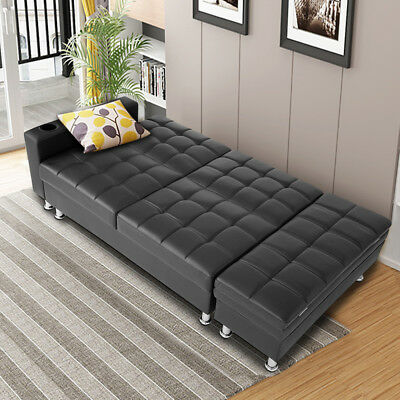 Modern Faux Leather Sofa Bed with Storage Ottoman & Cup holder Sofabed Furniture