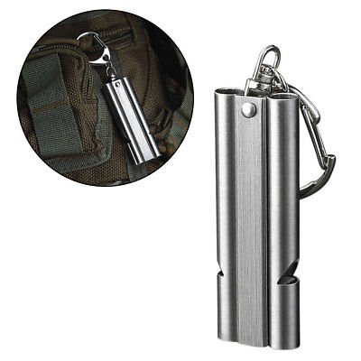 Lx_ Outdoor Survival Dual-Pipe Stainless Steel High Decibels Keyring Whistle O