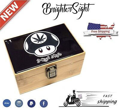 New HIGH LIFE Smoking PACK GIFT Grinder+Raw Rolling Papers+Wooden Box SMELLSAFE