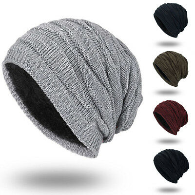 US Men Women Knit Baggy Beanie Winter Hat Ski Slouchy Knitted Cap Warmer Hats