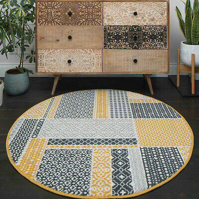 Circle Round Table Rug Mat Gold Mustard Yellow Ochre Patchwork Traditional Mats