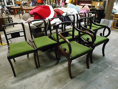 8 Gorgeous Edwardian Style Vintage Dining Chairs Mahogany Inlaid Detail