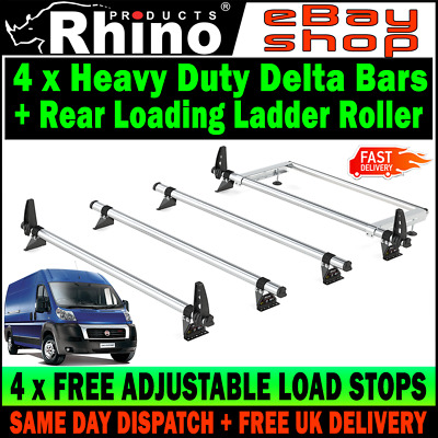 HIGH-H2 Fiat Ducato Roof Rack Bars x4 Rhino With Rear Roller For 2006-2019 Van