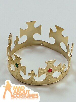 Adult Gold Kings Crown Royal Prince Three Kings Nativity Fancy Dress Accessory