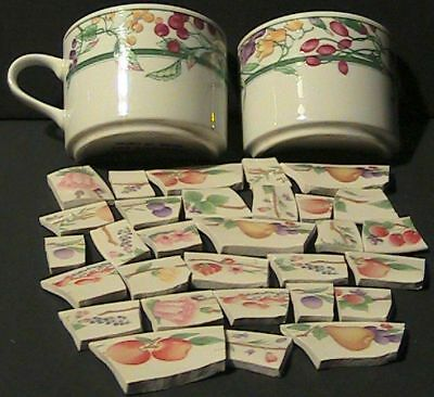 Mosaic Tiles Fruit Cup w 2 Half Cups Nice Larger Fruity Tile Set FREE SHIPPING