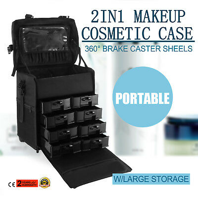 Makeup Storage Box Train Cosmetic Luggage Organizer Rolling Beauty Case DIY UP