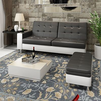 Luxury Faux Leather Sofa Bed with Storage Ottoman & Cup holder recliner sofabed