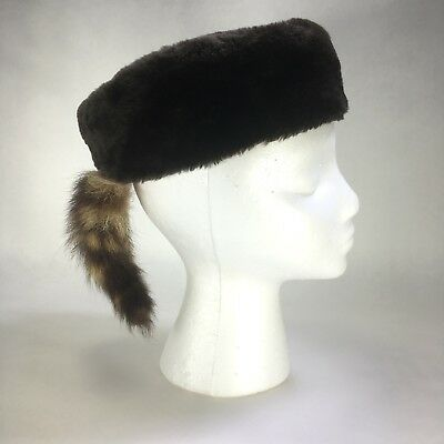 Vintage Real Raccoon Coonskin Davy Crockett Child Size Cap Hat