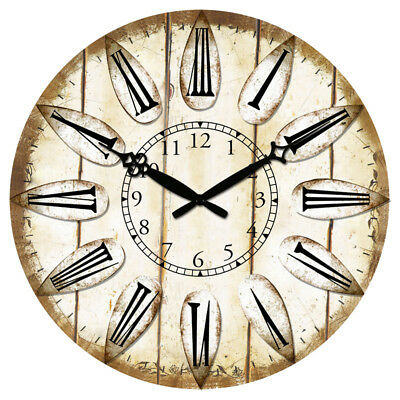 """Round Wooden Wall Clock 38cm 15"""" Silence Antique Design Home Rooms Decor Large"""