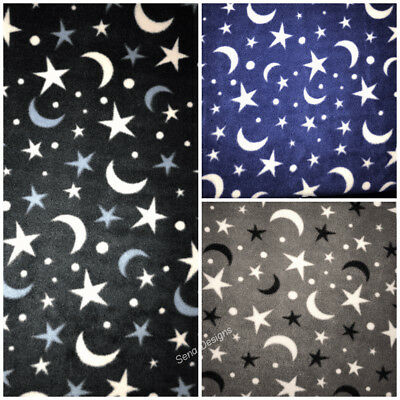 Polar Fleece Anti Pill Fabric Premium Quality Soft Material Moon & Stars Print