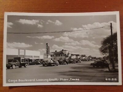 Vintage Real Photo Postcard Pharr, Texas, Cage Blvd. 1940s
