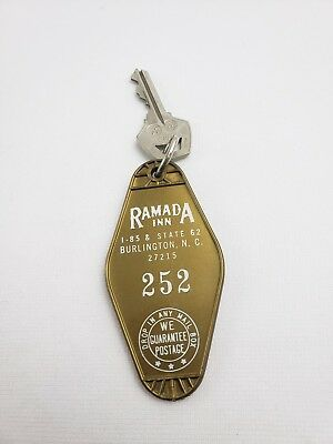 Vintage Hotel Motel Key Fob Ramada Inn Burlington North Carolina Room 252