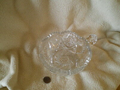 Leaded Cut Crystal Relish/Candy dish, Sawtooth Edge,  Vintage, Not Signed.