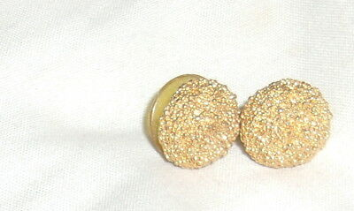 Vintage 80's Pair of Round Gold Glittery Half Round Stud Earrings